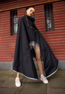 Woman wearing scooter-friendly raincoat