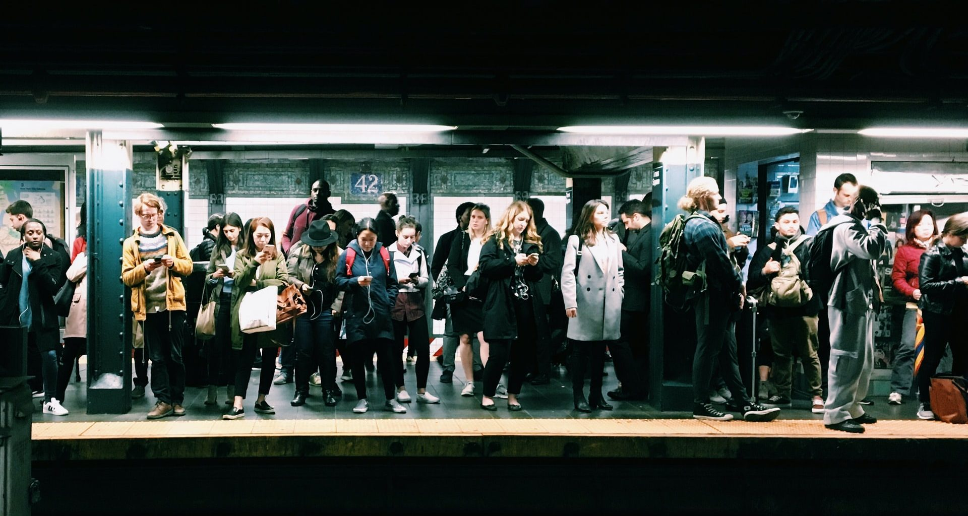 A congested subway platform