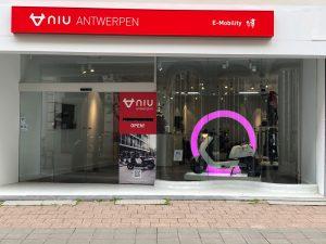 De winkel van NIU Flagship store in Antwerpen
