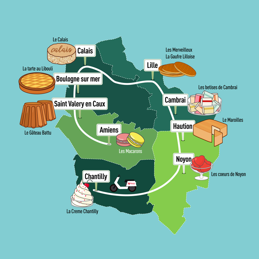 Jean-Baptiste's travels will take him to nine locations across northern France where he will sample ten desserts